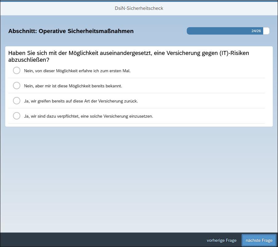 Der IT-Sicherheitscheck von DsiN fragt nach einer Cyber-Versicherung. (Screenshot)